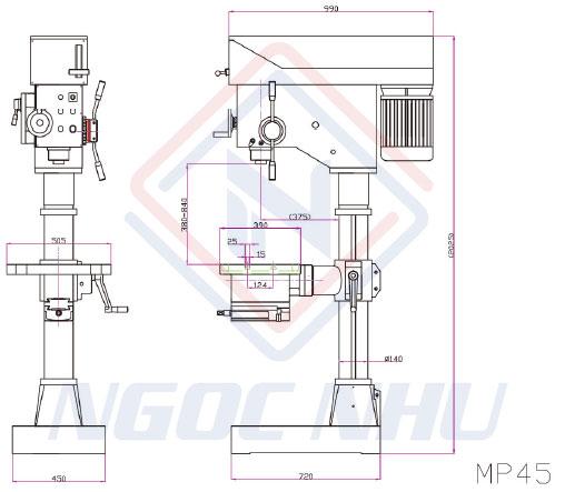 Máy khoan bàn hộp số 45mm hiệu KTK MP-45G